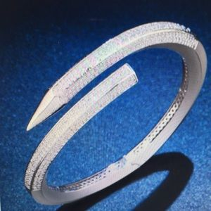 Sterling Silver Pave Crystals Bangle Cuff Bracelet